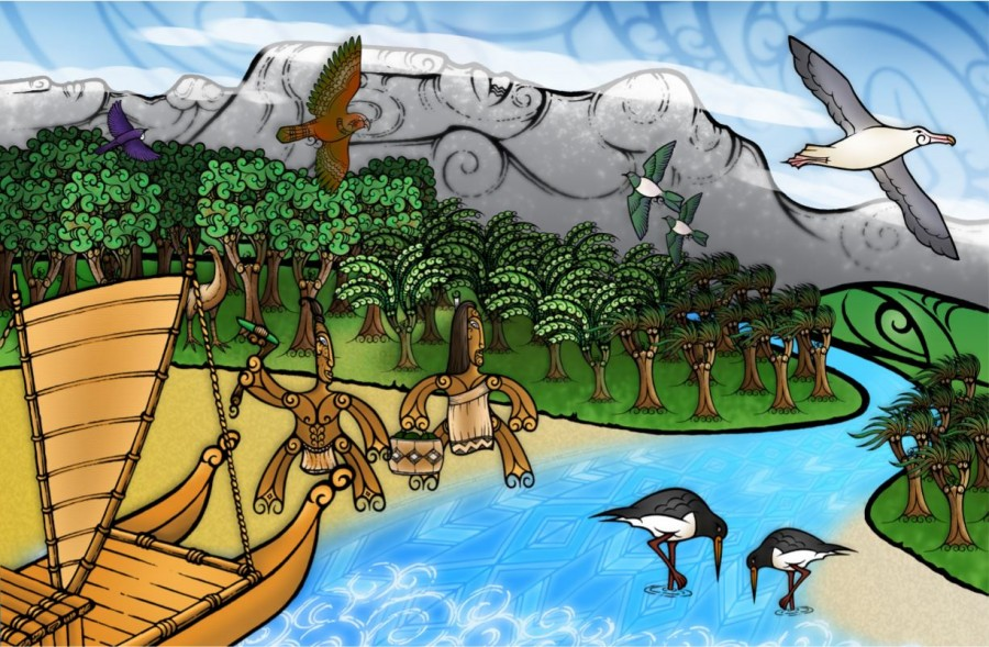 Creative illustration of historic Aotearoa and its people, flora and fauna