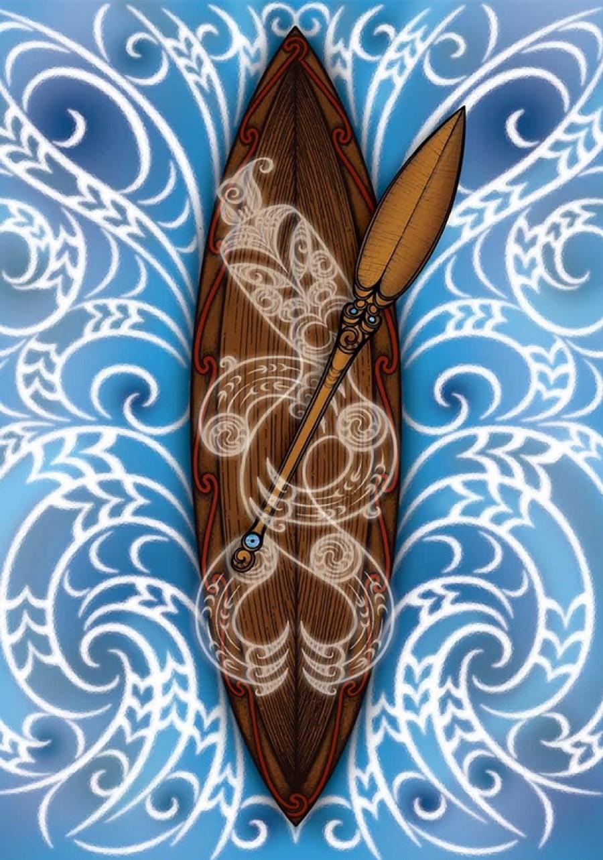 Illustration of Māori waka